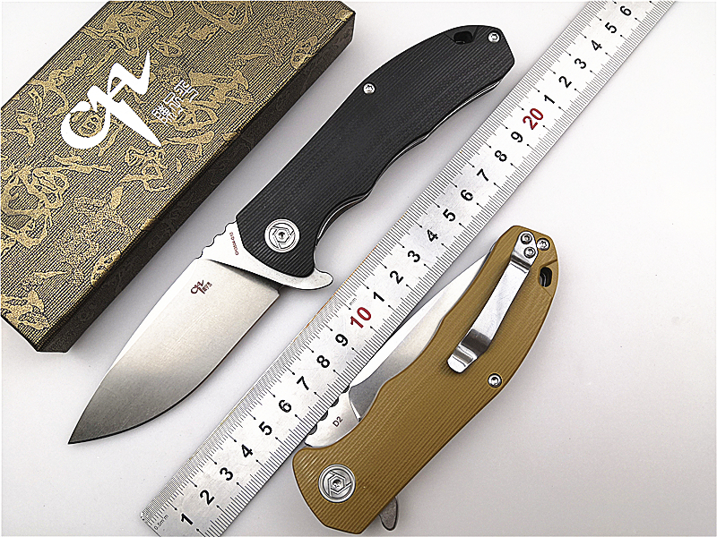 Hiking Folding Pocket Knife CH 3504-G10 Flipper D2 Blade G10 Handle Ball Bearing Utility Outdoor Camping Tactical Knife EDC Tool