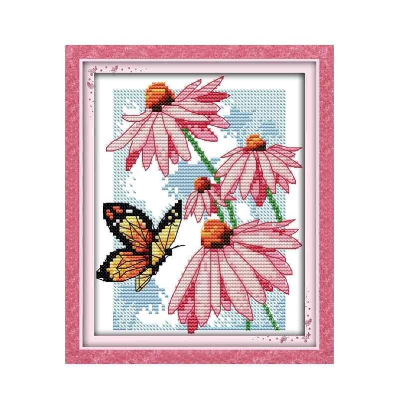 Needlework Craft Embroidery DIY Counted Cross Stitch Kits 14 ct Rose /& Butterfly