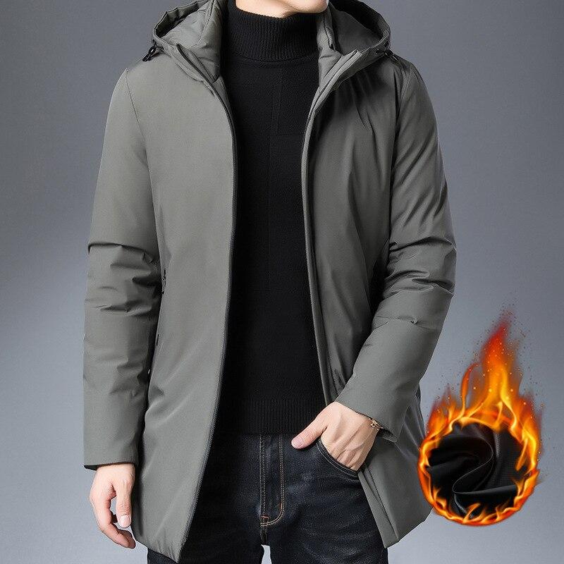 Мужское пальто средней и большой длины, модная Мужская Теплая стеганая куртка с капюшоном, Мужская стеганая куртка с длинным рукавом|Парки| | АлиЭкспресс