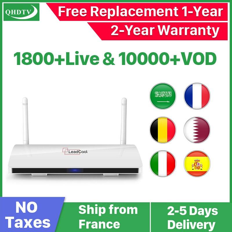 Leadcool QHDTV IPTV France Box 1 an Code IPTV espagne français belgique pays-bas Android 8.1 TV Box arabe France IPTV Top Box