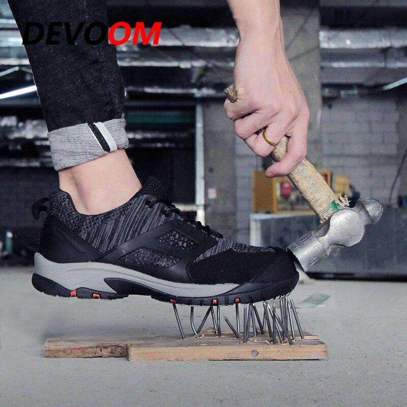 Nouvelles chaussures de course pour hommes embout en acier Camo respirant maille Sport travail assurance anti-crevaison travail chaussures de sécurité baskets hommes