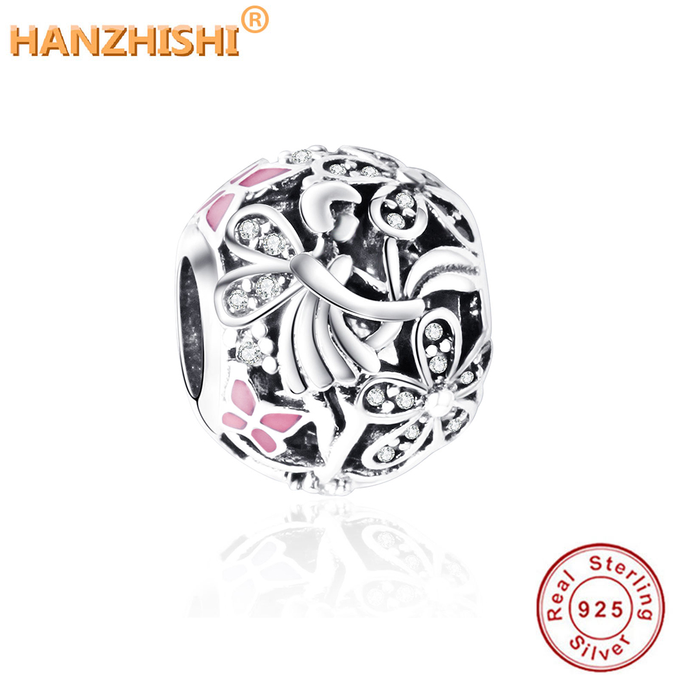 2017 100% 925 Sterling Silber Perlen Fit Pandora Charms Armband Dazzling Daisy Fairy Charms mit hellrosa Emaille und Clear Cz