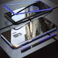 Étui pour samsung Galaxy S9 Plus S10 Note 9 étuis A20/30 A70/50 en métal à adsorption magnétique en verre arrière