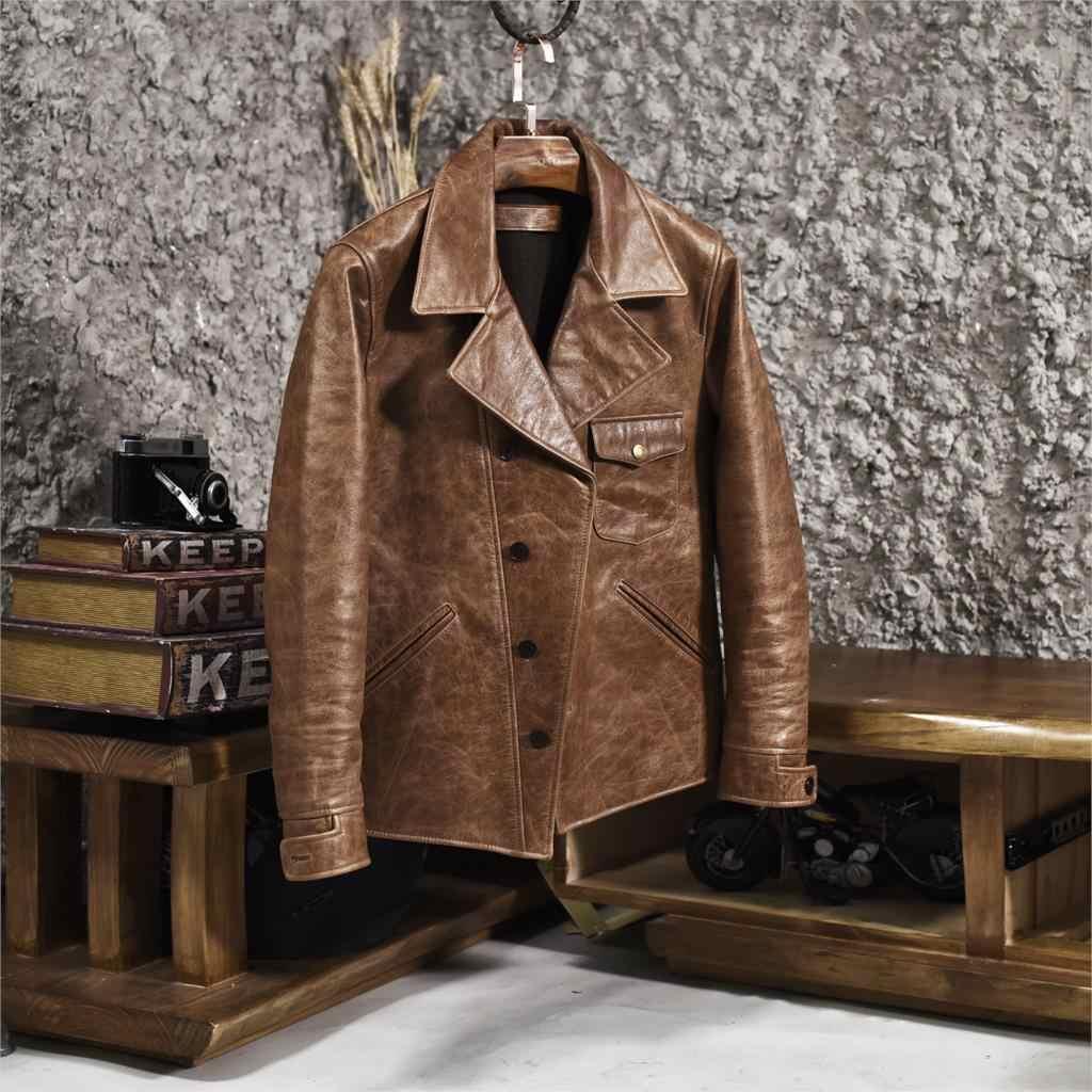 2020 Pria Vintage Minyak Lilin Kulit Sapi Jaket Kerah Pendek Jaket Motor Single Breasted Coklat Biker Mantel Kulit untuk pria