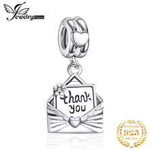 JewelryPalace 925 Sterling Silver Rose Envelope Thank You Letter Charm Beads Fit Bracelets As Beautiful Gifts New Hot Selling