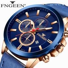 Mens Watches FNGEEN Top Brand Luxury Leather Casual Quartz Watch Men Sport Waterproof Clock Blue Watch Relogio Masculino 5311