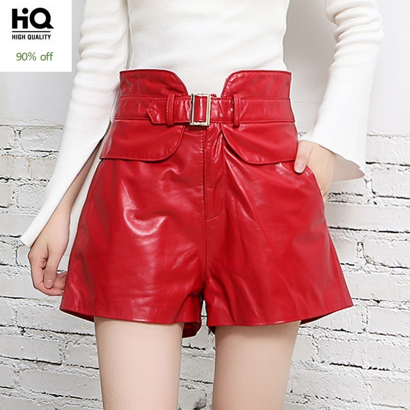 High Waist Genuine Leather Shorts Femme Design Slim Sheepskin Wide Leg Short Pants 2020 New Street Red Black Ladies Sexy Shorts