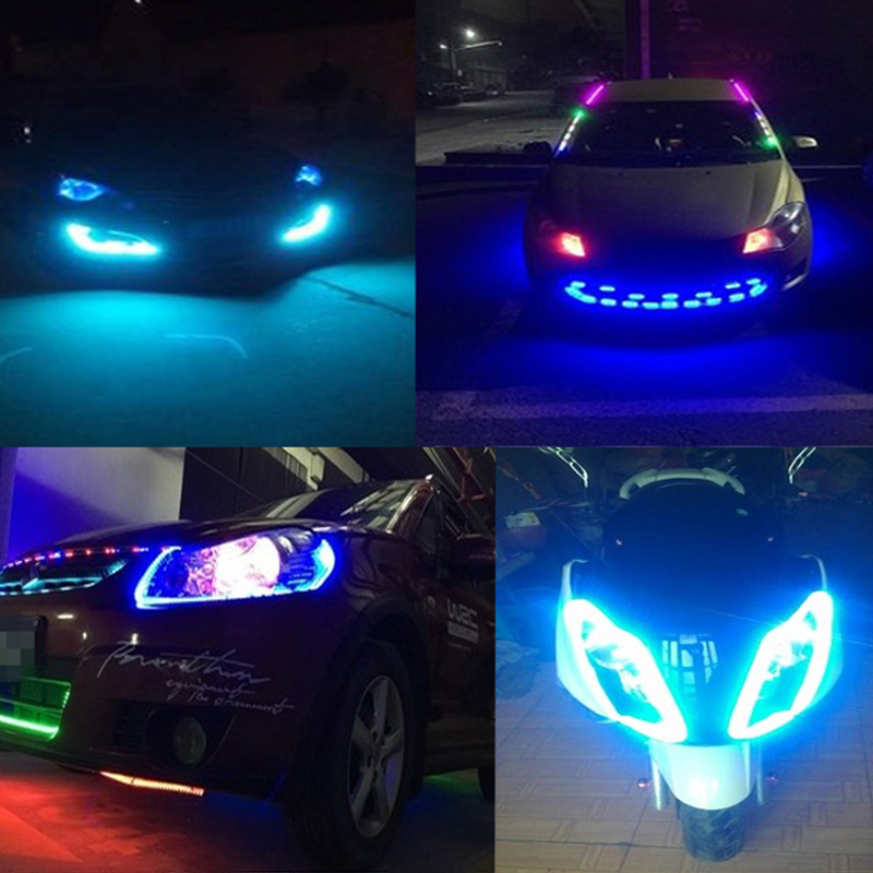1 шт. 30 см 60 см Автомобильная декоративная лампа цветная светодиодная лента 5050 гибкая лента светильник дневные ходовые огни DRL ангельские глазки