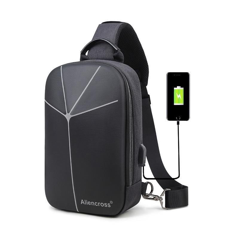 Hot Sale New Multifunction Crossbody Bag for Men Anti-theft Shoulder Messenger USB Bags Male Waterproof Short Trip Chest Pack