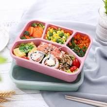 Material saudável portátil lancheira 1 camada de trigo palha bento caixas microondas jantar ware recipiente armazenamento alimentos dropship