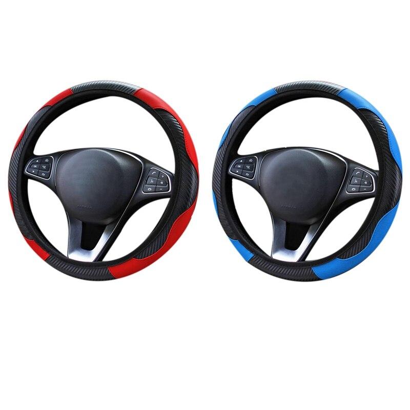 2X чехол рулевого колеса автомобиля, дышащие Нескользящие Чехлы для руля, внутренние аксессуары для украшения автомобиля, синие и красные