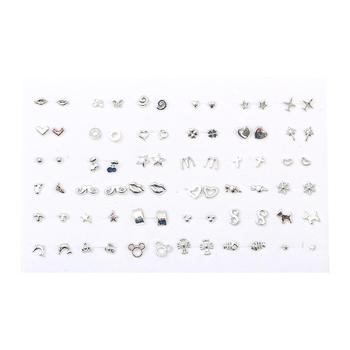 36Pairs Randomly Mixed Silver Color Women Butterfly Bowknot Flower Heart Small Plastic Stud Earrings Sets For Girl Jewelry Party