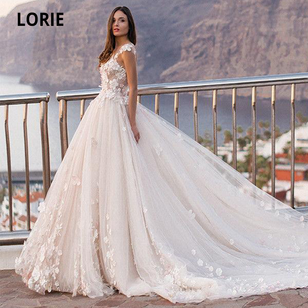 LORIE Cap Sleeve A-line Wedding Dresses Beach 2020 Lace Tulle Bridal Gowns Open Back Princess Wedding Party Gowns Royal Train