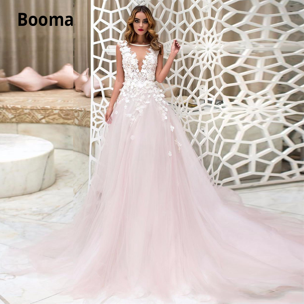 Blush Pink Wedding Dresses Lace Appliques O-neck Sleeveless Illusion Charming Beach Brial Gowns Plus Size Free Shipping 2020 New