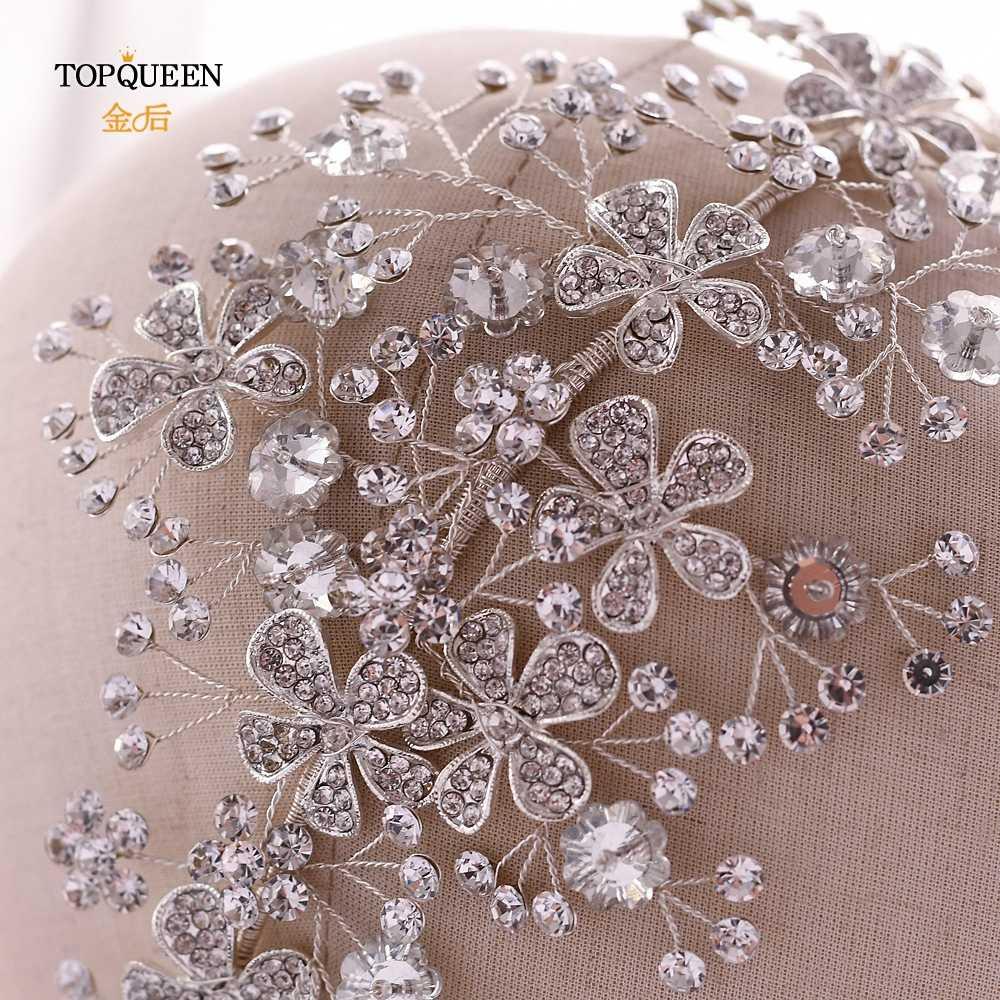 TOPQUEEN Luxus Hochzeit Stirnband Stunning Partei Haar Schmuck Hochzeit Krone Floral kopfschmuck Braut Tiara für Hochzeit HP273