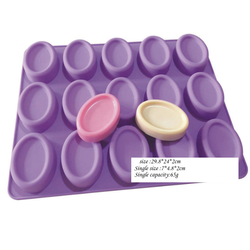15 Cavity Oval Shape Soap Mold Silicone Cake Chocolate Mould Tray Handmade DIY G