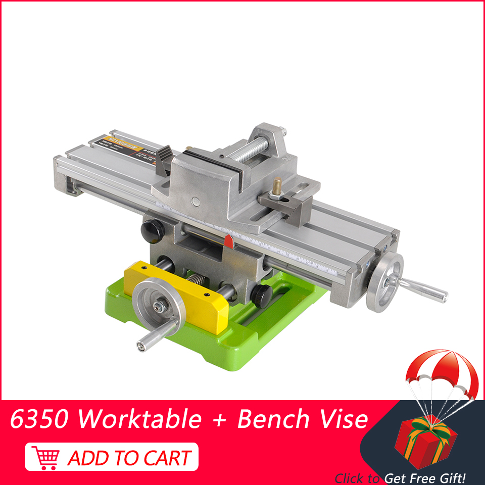 CNC Fixture 6350 Bench Drill Working Table Multifunctional X Y-axis Adjustment Coordinate + 2.5 Inch Vise For Engraver Machine