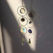 Colgante de luna y estrella de viento de cristal, atrapamoscas hecho a mano, lámpara de cortina para ventana de jardín y boda, decoración artesanal