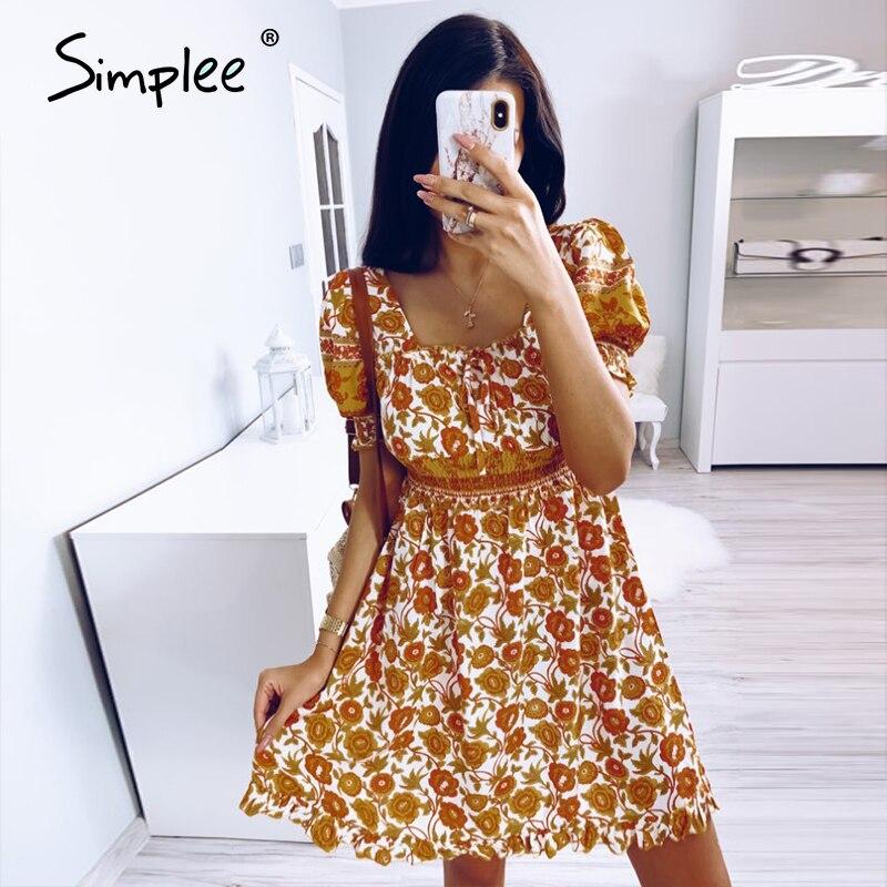 Simplee Blackless Floral Print Dress Summer High Waist Puff Sleeve Ruffled Boho Dress Streetwear Ladies Ruched A-line Mini Dress