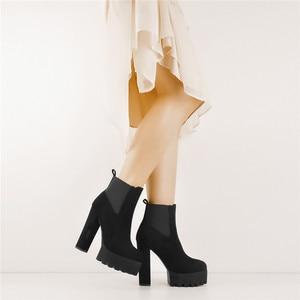 Image 2 - Sómaker Mulheres Dedo Do Pé Redondo botas Plataforma tornozelo Grosso de Salto Alto Plus Size Senhoras Negras Botas