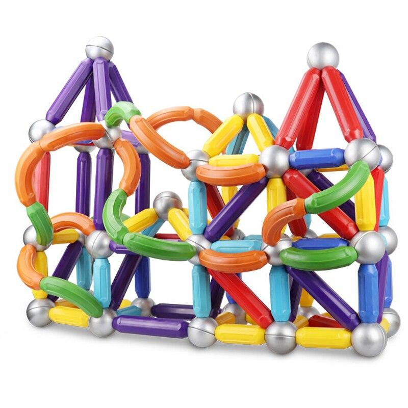 Big Size Magnetic Blocks Magnet Bars & Metal Balls Magnetic Designer Set Building Constructor Toys For Children Gifts