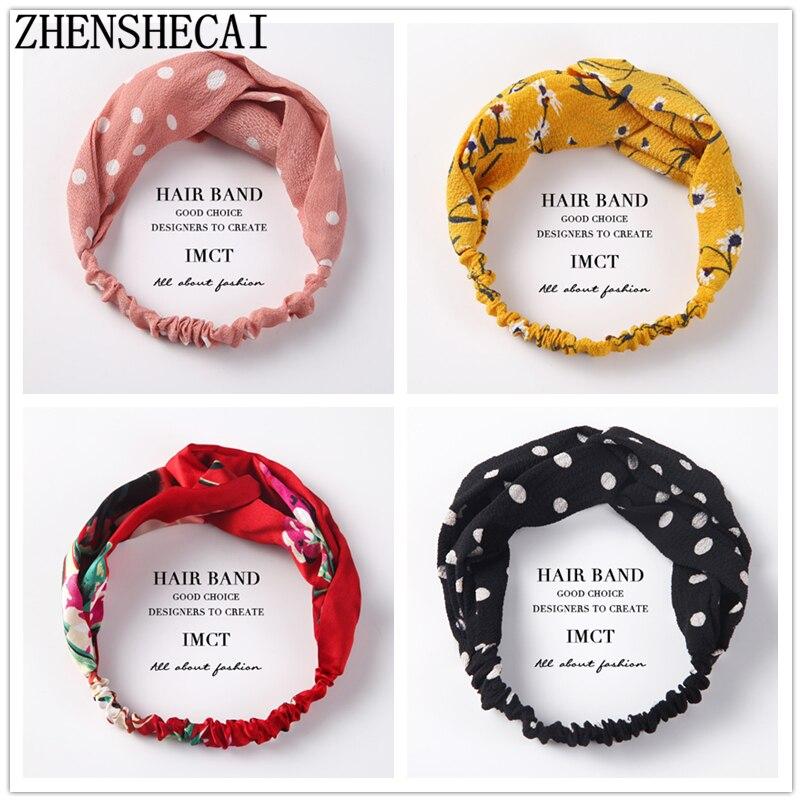Women Autumn Winter Headband Vintage Knot Cross Elastic Hair Bands Soft Solid Girls Headband Hair Accessories
