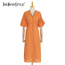 TWOTWINSTYLE Summer Vintage Solid Women Dress V Neck Puff Sleeve High Waist Button Hollow Out Midi Dresses Female Fashion 2020