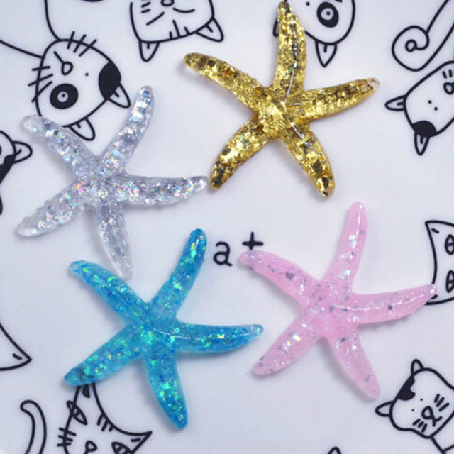 10pcs Cute Colored Starfish Shape Small Beads Sea Creature DIY Earring Necklace