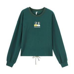 Image 5 - INMAN 가을 겨울 문학 카톤 수 놓은 Drawstring Loose All match Ladys Sweatshirt