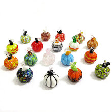 New Colorful lampwork handmade Mini Glass pumpkin pendant Halloween party cute art craft ornament home decor hanging accessories(China)