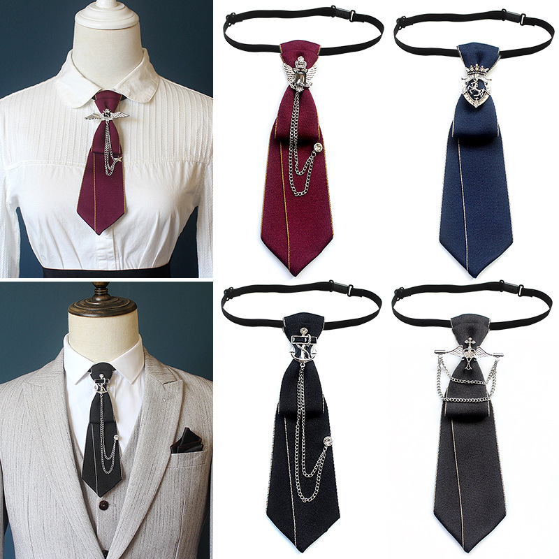 British Style Rhinestone Metal Tie Men's And Women's Universal Ties Clothing Skinny Short Necktie Accessories Trendy 6 * 21CM