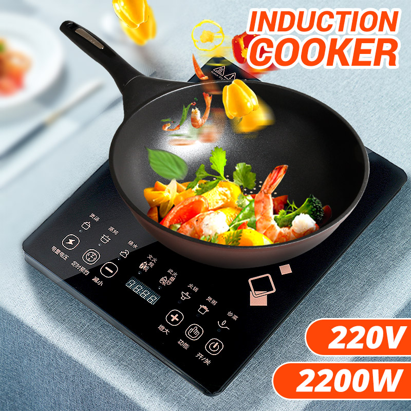 2200W 220V Portable Electric Touch Control Induction Cooker Electromagnetic Oven Cooking Tea Boiler Adjustable 8 Mode