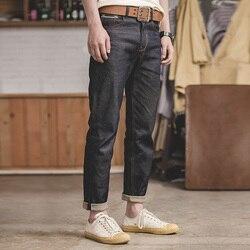 2020 New Vintage Regular Straight Fit Unwashed Raw Selvedge Denim biker Jeans men