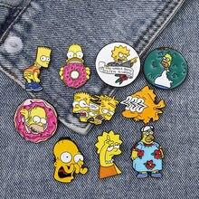 Homer Bart Lisa Enamel pins Custom Funny Brooches Bag Clothes Lapel Pin Cartoon Comics Badge Fun TV series Jewelry Gift Fans