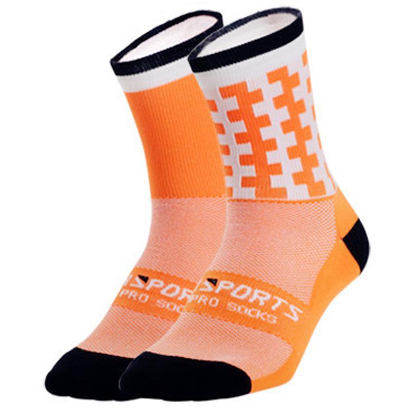 Купить с кэшбэком Sports Socks On For Racing Hiking MTB Road Bike Bicycle Socks Breathable Cotton Knee-High Cycling Socks Geometric Patterns