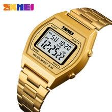 SKMEI Men Fashion Digital Watch Luxury Alloy Strap Business wristwatch Waterproof LED display 12/24 hours Relogio Masculino 1328