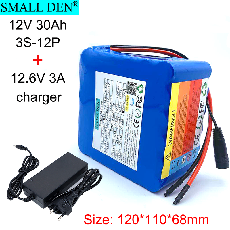 <font><b>12V</b></font> <font><b>30Ah</b></font> 18650 <font><b>lithium</b></font> <font><b>battery</b></font> <font><b>pack</b></font> 3S12P+12.6V3A charger with built-in 100A BMS charging and discharging at the same port image