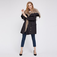 2019 New Arrival Real Fox Fur Parka Overcoat Great Winter Coat Lady's Fox Fur High Quality Coat Winter Wram Coat