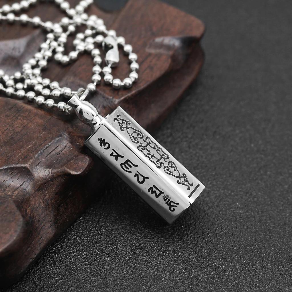 kowaku Collar de Oraci/ón de Mantra Budista de Recuerdo de Urna Conmemorativa de Medall/ón de Acero Inoxidable