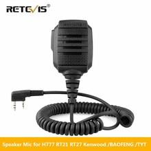Retevis RS 114 IP54 עמיד למים רמקול מיקרופון עבור Kenwood Retevis H777 RT22 RT3S RT81 Baofeng UV 5R UV 82 888S ווקי טוקי