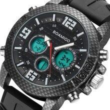 Bomigo montre bracelet de sport pour hommes, analogique numérique à Quartz, de marque, style militaire, LED