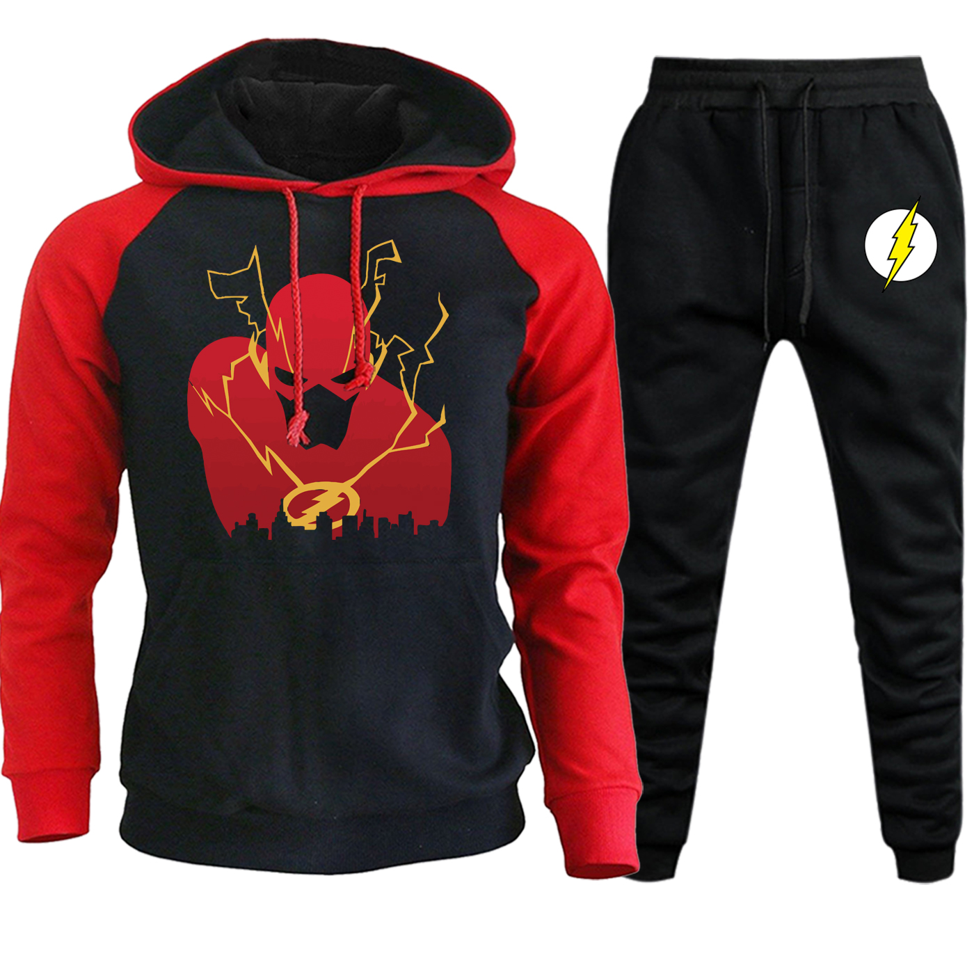 Men Hooded Raglan Sportswear Autumn Winter 2019 New Casual Streetwear The Flash Man Suit Male Fleece Hoodie+Pants 2 Piece Set