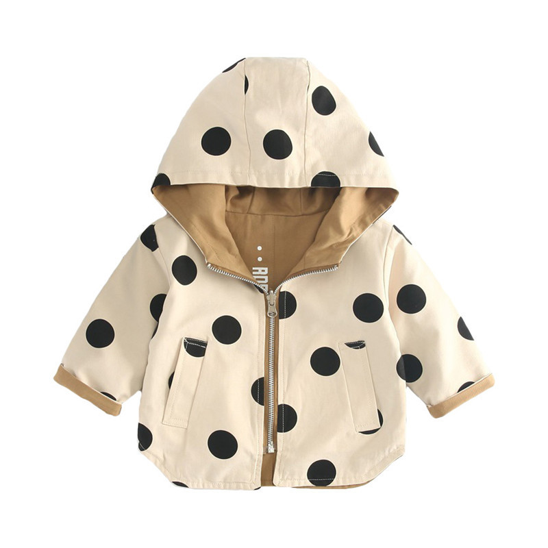 Baby Coat Fashion Korean Boys And Girls Hooded Top Children Dot Both Sides Wear Girls Autumn Trench Kids Clothes image