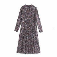 New Women Country Style Floral Printing Casual Long Dress female O Neck Long Sleeve Midi Vestidos Chic Buttons Dresses DS2798