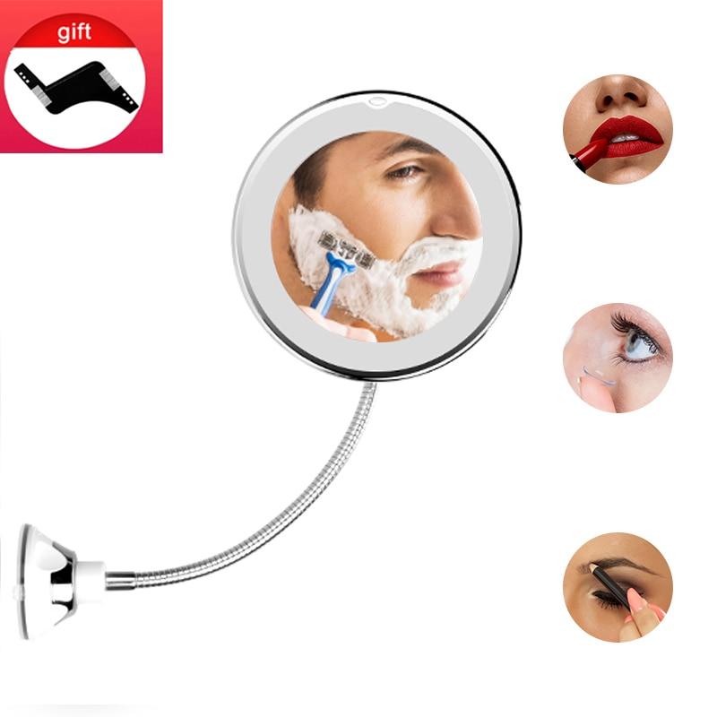 LED Mirror Makeup Mirrors Shaving Mirror Flexible Mirrors Magnifying Vanity Mirrors With Light Backlit Miroir Bathroom Mirror