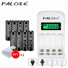 PALO 4slots intelligent smart battery charger for AA / AAA NiCd NiMh rechargeable batteries LCD display+8 pcs 3000mAh AA battery