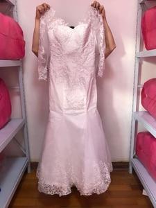 Image 3 - Fansmile 2020 New 2 in 1 Arabic Amazing Detachable Train Mermaid Wedding Dress Long Sleeve Lace Bridal Wedding Gowns FSM 590T