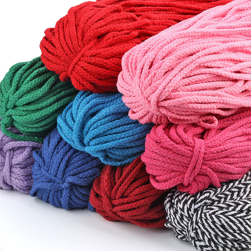 5yards/lot Colorful 5mm Cotton Cord Twisted Rope High Tenacity Macrame DIY Textile Craft Woven String Home Decoration Touw