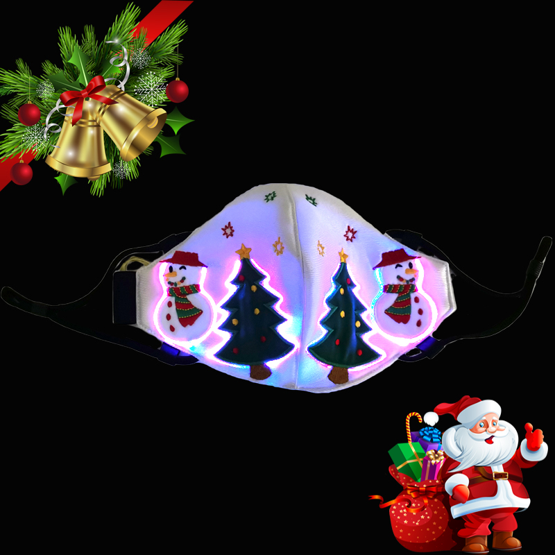 7 Color Light Up Face Mask Fiber Optic Fabric Face Mask LED Glow Christmas Party Mask Soft Breathable Face Mask For Adults TSLM1 2