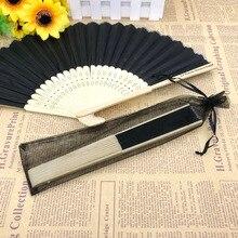 160 pces personalizado favores do casamento ventilador de dobramento portátil com saco de organza impressão personalizada mão fã ao ar livre festa decoração presente